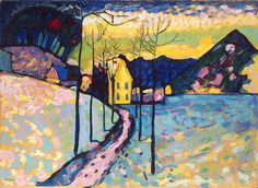"""Wassily Kandinsky was an influential Russian painter and art theorist. He is credited with painting one of the first purely abstract works. (Wikipedia) (""""Winter Landscape"""" by Wassily Kandinsky) Art Gallery, Modern Art, Kandinsky, Abstract Expressionism, Winter Landscape, Painting, Kandinsky Art, Art, Art History"""