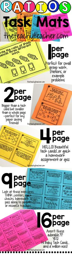 All things RATIOS! 50 Math Task Mats that cover everything. Unit Rate, Equivalent Ratios, Unit Rate, Tables, and Word Problems that engage and meet the needs of all learners. Perfect for covering ratios and proportions.