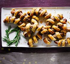 Serve these irresistibly buttery pastry-wrapped chipolatas as a Christmas dinner side dish - they're perfect as party canapés too