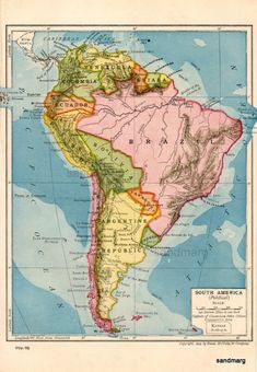 Items similar to Original Antique Edwardian Political Map of South America Galapagos Islands Rand McNally 1903 on Etsy Old Maps, Antique Maps, Vintage Maps, Columbia South America, South America Map, South America Animals, Map Globe, Alternate History, Galapagos Islands