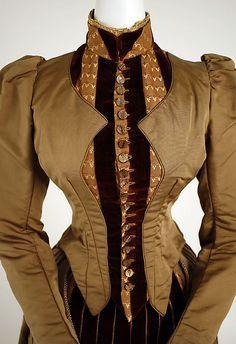 Dress Date: 1886 Culture: American Medium: silk Dimensions: (a) Length at CB: 19 in. (48.3 cm) (b) Length at CB: 41 in. (104.1 cm)