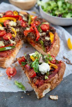 Pizza van Turks brood met gehakt - Brenda Kookt! - Hoofdgerecht
