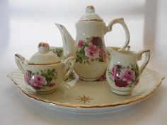 Miniature Tea Set by Porcelain Collectables by TreasuresbyGrammee, $24.99