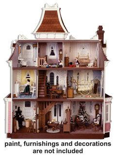 The Wooden Beacon Hill Dollhouse Kit by Greenleaf Dollhouse - Buy Factory Direct at the Greenleaf Company Store! Dollhouse Tutorials, Dollhouse Kits, Modern Dollhouse, Dollhouse Miniatures, Dollhouse Interiors, Vintage Dollhouse, Victorian Dollhouse Furniture, Victorian Toys, Dollhouse Dolls
