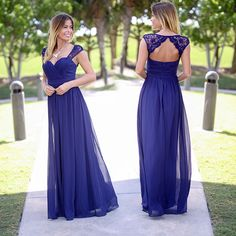 NEW COLOR! Our bridesmaid maxi dress is now available in this pretty Navy! Shop at savedbythedress.com