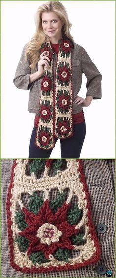 Crochet Poinsettia Scarf Free Patterns - Crochet Poinsettia Christmas Flower Free Patterns