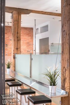 Massey Harris Lofts - #101 | Toronto LOFTS Toronto Lofts, Lofts For Rent, Exposed Concrete, Rental Listings, How To Level Ground, Open Concept, Beams, Brick, The Originals