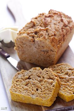 Pumpkin Beer Bread  Prep Time: 5 minutes Cook Time: 50 minutes Total Time: 55 minutes Yield: 1 loaf Ingredients  3 cups flour (I used half a...