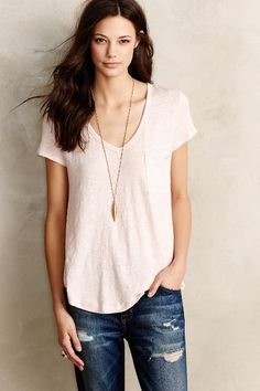 Scooped Linen Tee - anthropologie.com