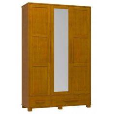Guarda Roupa 3 Portas 2 Gavetas Teca Com Espelho Madeira Maciça Pinus Linha Perla - Dactylo Móveis de Madeira Maciça