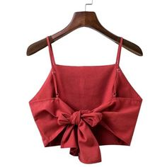 Shop Knot Back Cami Top online. SheIn offers Knot Back Cami Top & more to fit your fashionable needs. Diy Clothing, Sewing Clothes, Red Cami Tops, Tank Tops, Crop Top Outfits, Creation Couture, Womens Workout Outfits, Fitness Outfits, Latest Street Fashion