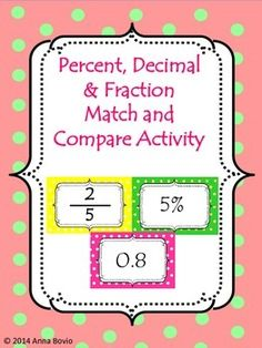 Percent, decimal, and fraction activity. Students can order, match and compare numbers.