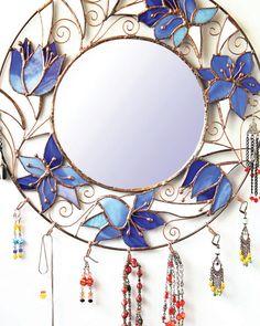 Miroir vitrail mur miroir fait main rond bijoux par LaurusArt