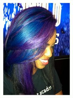 purple & blue (I've actually seen her youtube videos that shows how she dyes her hair) I really want to do this