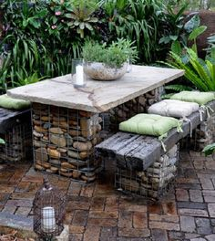 stone gabion bench