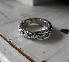 Mens Heavy Silver Wedding Band Rustic by HotRoxCustomJewelry, $120.00