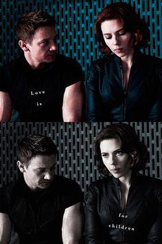 Jeremy Renner & Scarlett Johansson, The Avengers.