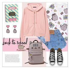 """""""#PVxPusheen"""" by smallbeautymonsters ❤ liked on Polyvore featuring Pusheen, Levi's, MANGO, Converse, contestentry and PVxPusheen"""