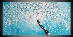 Turquoise Tree Painting on large Canvas abstract by acrylkreativ