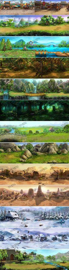 游戏原画美术设计资源 场景素材资料2D横...: