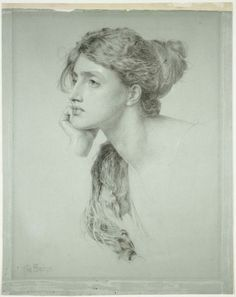 Study of a Woman's Head, Frederick Sandys. English Pre-Raphaelite Painter, (ca.1829-1904)