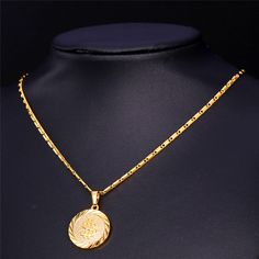 2015 New Dallor Necklace Women / Men Fashion Jewelry 18K Real Gold /Platinum Plated Round Coin Necklaces & Pendants