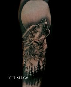 Black and grey wolf tattoo incorporating the moon and pine tree silhouettes. Thanks for looking. Follow me on Instagram and Facebook: @Lou Shaw Tattoo