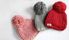 supercorp thick yarn knitted button & pompom hat