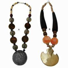 Classic Glass, Bone, Resin Pendant Necklace & Horn, Orange Resin Bead, Brass Pendant Necklace . $46.00. Save 18%!
