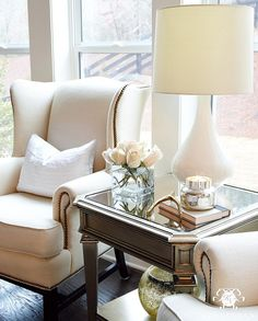 Kelley Nan (@kelleynan) • Sitting area with Pottery Barn Upholstered Thatcher Wingback Chair and ZGallerie Palais Collection side table KELLEYNAN.com