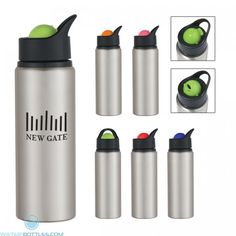 Roto Ball Prevents Spills Rotating Flip-Up Drinking Spout Meets FDA Requirements BPA Free Hand Wash Recommended Custom Water Bottles, Aluminum Water Bottles, Mug Holder, Drink Holder, Custom Promotional Items, Collapsible Water Bottle, Can Holders, Stainless Steel Bottle, Personalized Products