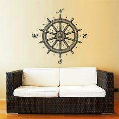 Ship Wheel Wall Decal Nautical Compass Rose Navigate Vinyl Sticker Decals Art Home Decor Wall Decal Living Room Bedroom Ship Ocean Sea ZX171 by IncredibleDecals on Etsy https://www.etsy.com/listing/251076044/ship-wheel-wall-decal-nautical-compass