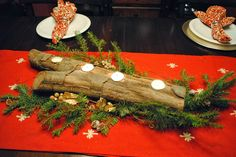 diy log tea light candle holder i did something totally different for my christmas table this year i decorated with a log using a simple paddle bit i - Christmas Log Candle Holder Decorations