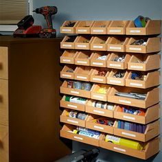 Organize your garage shelving with this plan for a system of hanging wood bins. Store fasteners and hardware in the bins, then carry the bins to your project as you need them.