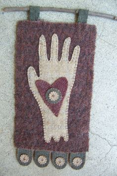 Primitive Handmade Heart in Hand Wall by TheWoolenPenny on Etsy, $24.00