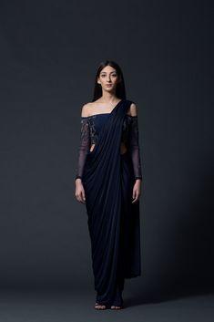 Midnight Off-Shoulder Concept Sari