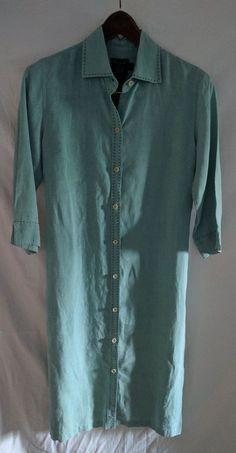 a8579da364c4 FACONNABLE 100% Linen Shirt Dress sz S Tunic Duster Aqua EUC Made in FRANCE   Faonnable  Tunic  Casual