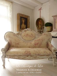 RESERVED - Napoleon III sofa, French toile de Jouy, Red, Dollhouse miniature furniture in 1/12 scale on Etsy, Sold