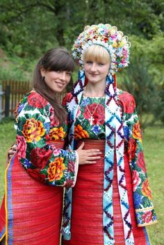 Podruzhen'ky, Ukraine , from Iryna Folk Costume, Costume Dress, Ethnic Fashion, European Fashion, Polish Embroidery, Flower Head Wreaths, Clothing And Textile, Women's Clothing, Bridal Crown