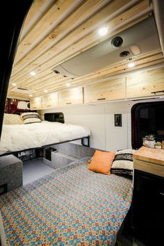 caravan design 567453621798464476 - When folded down, the bench is between a twin and full sized bed. Vw Lt Camper, Build A Camper Van, Sprinter Camper, Diy Camper, Camper Trailers, Mercedes Sprinter 4x4, Sprinter Van Conversion, Camper Van Conversion Diy, Transit Camper