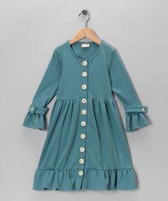 Adooka Organics Teal Organic Button Dress - Toddler & Girls  #zulily #fall