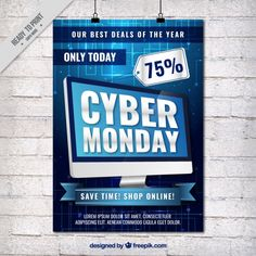 Cyber monday flyer with a computer Free Vector