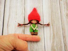 Very very thin 7cm my creation Minimy crochet doll Pixie