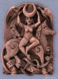 Carving of Epona or Rhiannon by an unknown modern artist - perhaps Paul Borda?