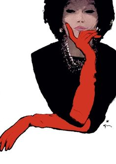 Red gloves fashion illustration// Rene Gruau