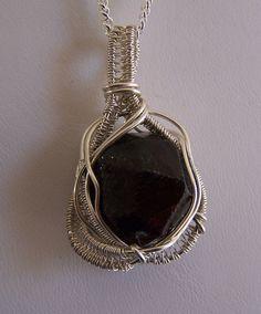 Garnet Wire wrap crystal necklace pendant  Double by mandalarain, $65.00