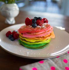 sweet, breakfast, drink, rainbows, pancakes, yummi, color pancak, rainbow pancak, color inspir