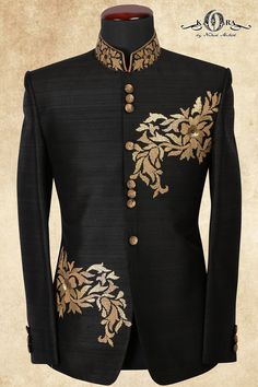 Black Raw Silk Sequins Embroidered Jodhpuri Suits-ST657