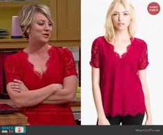 Penny's red lace v-neck top on The Big Bang Theory.  Outfit Details: http://wornontv.net/48289/ #TheBigBangTheory