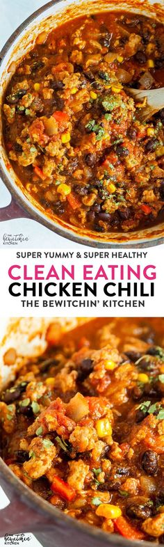 Eating Chicken Chili - this hearty and healthy chili recipe is lightened up with ground chicken and is 21 day fix approved. via Eating Chicken Chili - this hearty and healthy chili recipe is lightened up with ground chicken and is 21 day fix approved. Clean Eating Chicken, Clean Eating Diet, Healthy Eating, Chicken Meals, Recipe Chicken, Dinner Healthy, Healthy Dishes, Healthy Cooking, Cooking Tips